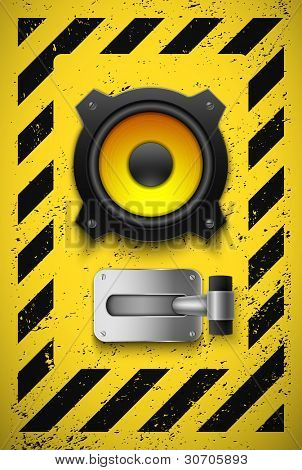 Party design element with speaker and switch. Vector illustration