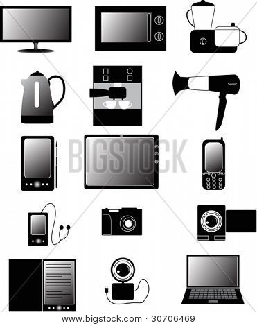 illustration with set of electronic devices isolated on white background