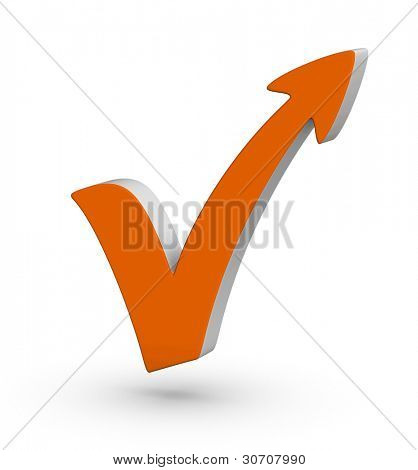 orange check mark with arrow on white background