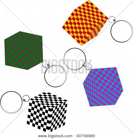 3D Checkered Cubes With Keychains