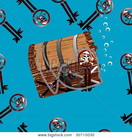 Pirate Chest Underwater Seamless Illustration