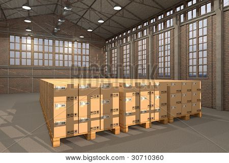 Warehouse with many transport boxes on pallets