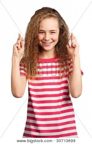 Portrait of superstitious girl isolated on white background