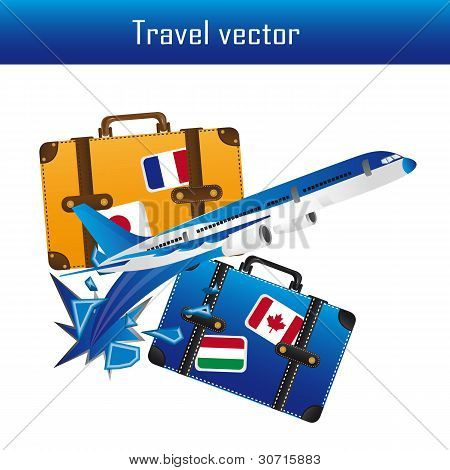 Plane and Suitcase