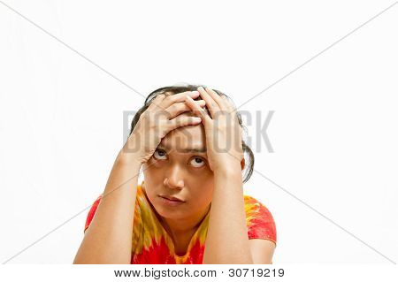 Stressful Ethnic Young Woman Portrait