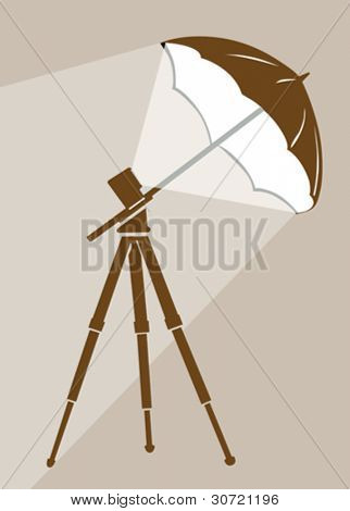 tripod silhouette on brown  background, vector illustration