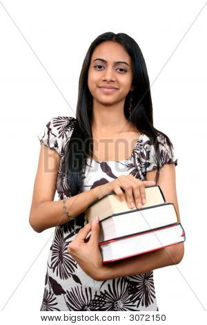 Indian Student With Books In Hand.