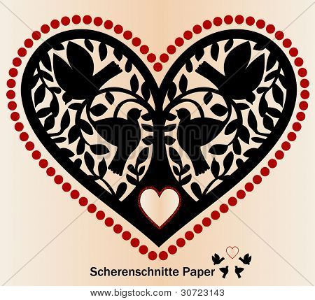 Paper cutout Scherenschnitte birds tree and heart