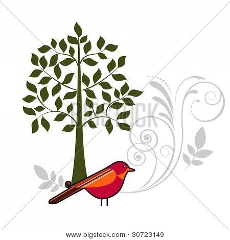 Pretty bird with tree and flourish