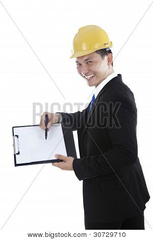 Engineer Showing Blank Clipboard
