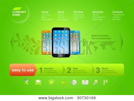Logo Anwendung und Spiele Businessservice für mobile Smartphones. Website-Template: online-Shop,