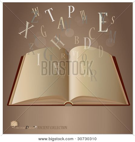 Opened ancient book with letters falling into the pages. Vector illustration.