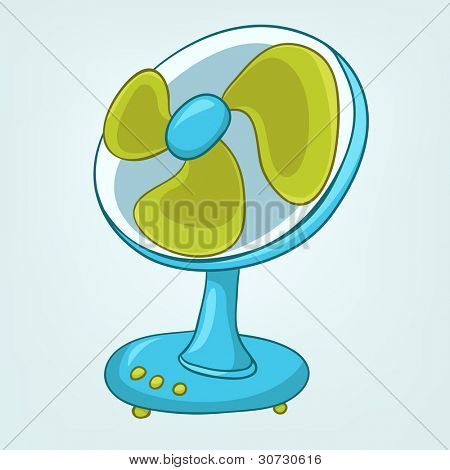 Cartoon Home Appliences Fan Isolated on White Background. Vector.
