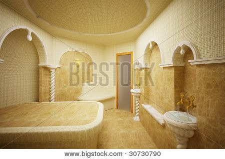 Hammam, Turkish steam room, 3-D