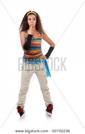 full length picture of a confused young woman wearing colorful casual sports clothes on white background