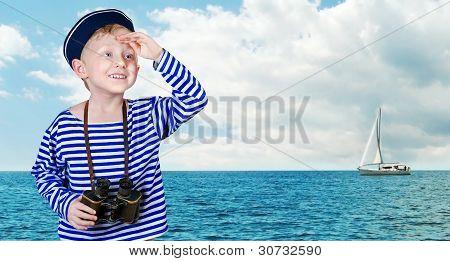 Little Sailor With Binoculars