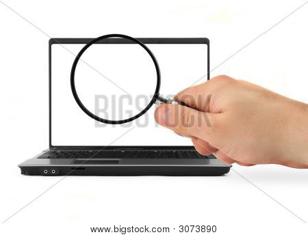 Hand With Blank Magnifying Glass And Notebook