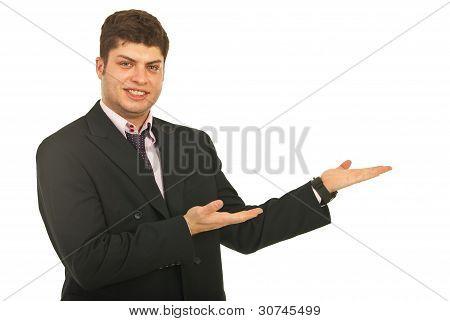 Smiling Business Man Making Presentation