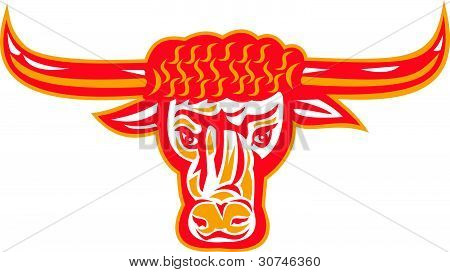 Texas Longhorn Toro cabeza Retro grabado en madera