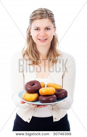 Happy Woman Holding Plate With Delicious Sweet Donuts