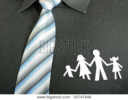 Paper Family In A Pocket