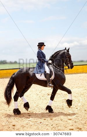 Beautiful female horse breaker with a horse and wearing an outfit