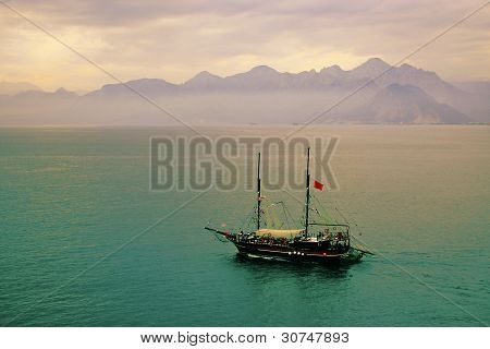 Mystic Ship Sailing In The Sea