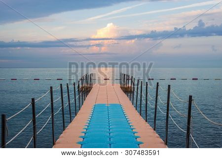 poster of Travel Vacation Tropical Destination. Pier On The Sea Landscape. Travel Vacations Destination. Trave