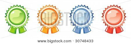Etiketten des Awards, vier Farben