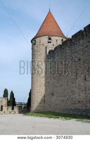 Lofty Tower And Defense Walls Of Carcasson Castle, France