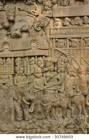 Wall Sculpture In Wat Umong