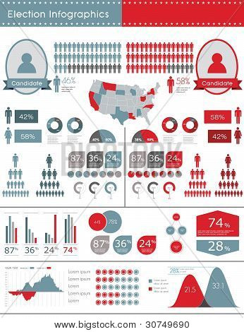 Election Infographic Vector Illustration. World Map And Information Graphics