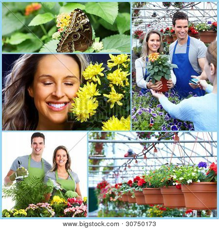 Happy gardening couple collage. People with flowers.