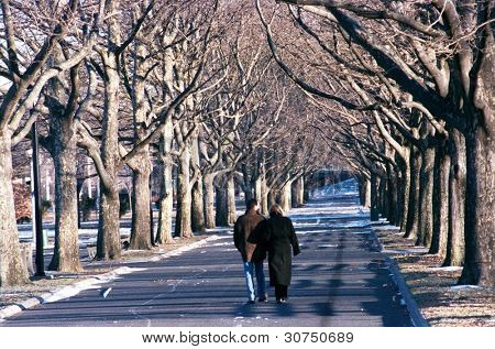FLUSHING, NY - CIRCA 1999:  A couple walks along a path in Flushing Meadow Corona Park after the year's first snowfall circa 1999 in the Flushing neighborhood of New York City.
