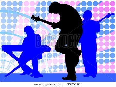 Vector drawing mans with guitar and keyboards
