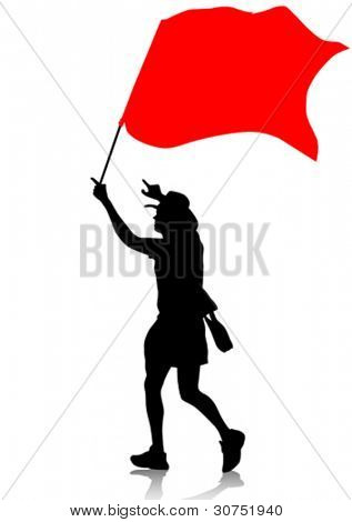 Vector drawing man with revolution flag