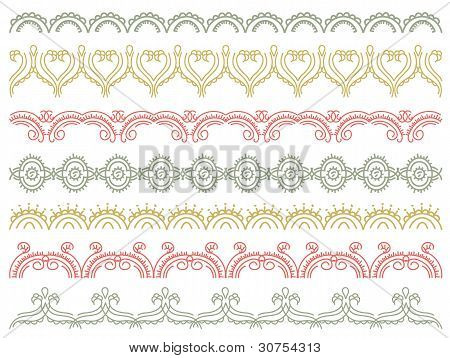 Seven Decorative Lines,  Vector