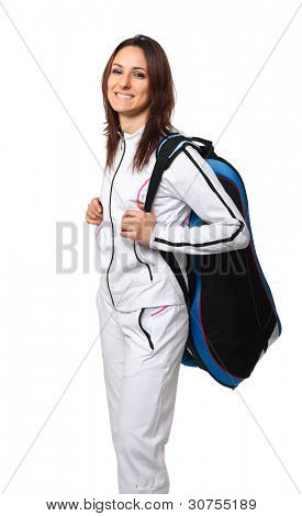smiling athete with big bag isolated on white