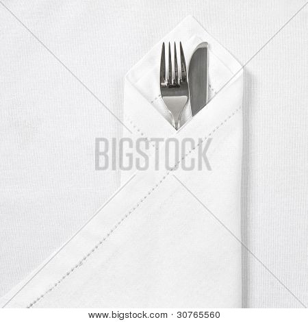 Knife And Fork With Linen Serviette
