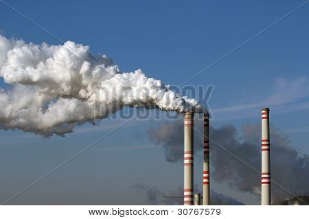 Smoke From Chimneys Of Coal Power Plant