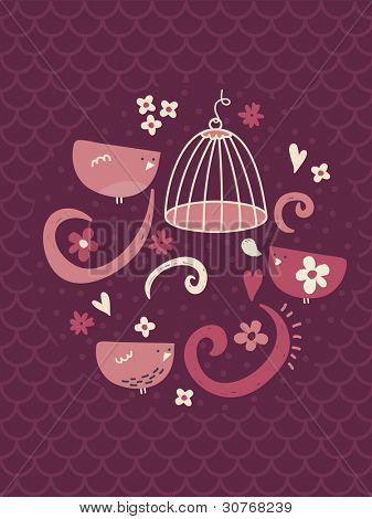 Conceptual illustration for Birds out of their cage, floral design.