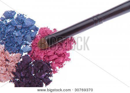eyeshadows with brush isolated on white background