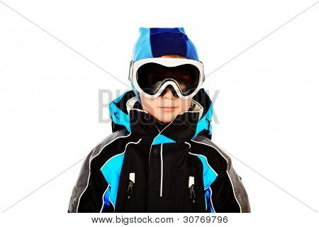 Portrait of a little boy in skier suit. Isolated over white.