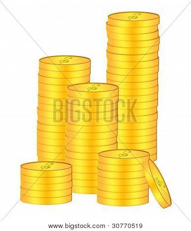 Pilhas de moedas de ouro Bullion ilustração