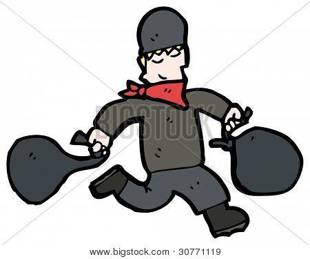 cartoon running bank robber