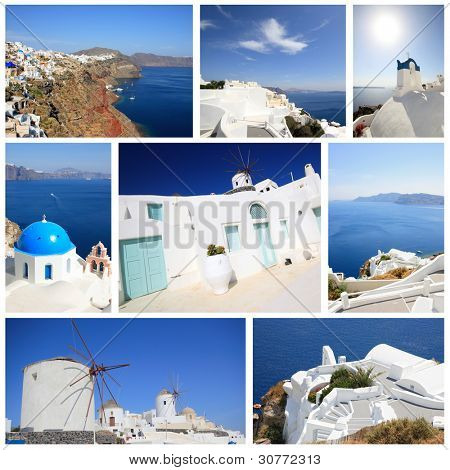 set of summer photos of Santorini island Greece