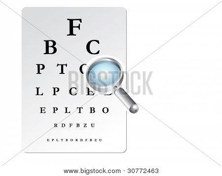 Eye test card with magnifying lens