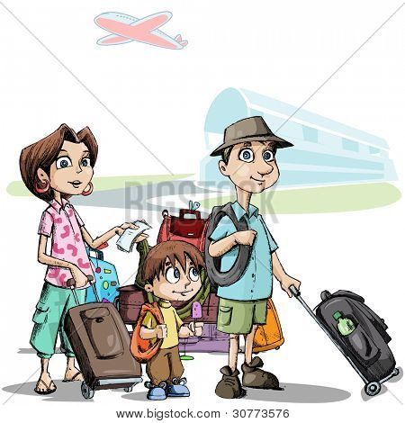 illustration of family with luggage standing in airport
