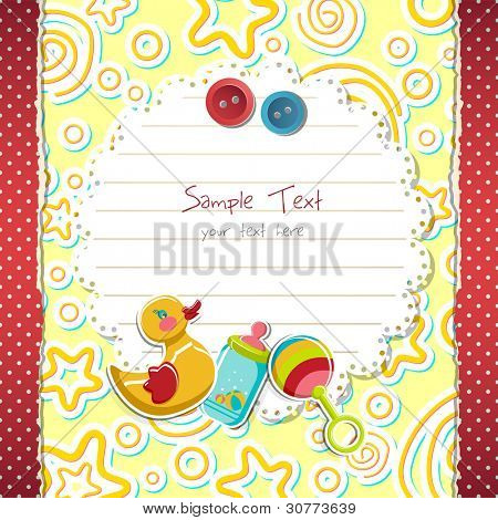 illustration of baby arrival card with toys on abstract background