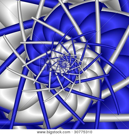 Abstract Spiral In Blue And Silver